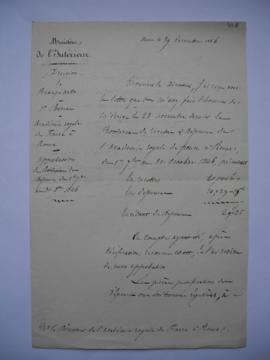 lettre portant l'approbation du Bordereau des dépenses du 1er septembre au 31 octobre 1846, du co...