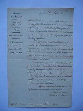 lettre autorisant de charger M. le Chevalier Visconti, neveu du célèbre antiquaire Ennius Viscont...